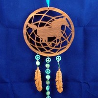 Western Horse Dream Catcher Handcrafted Walnut Cherry Blue Beads