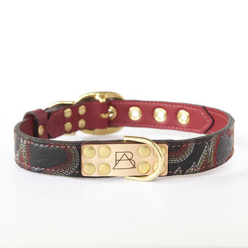 Ruby Red Dog Collar with Black Leather + Multicolored Stitching