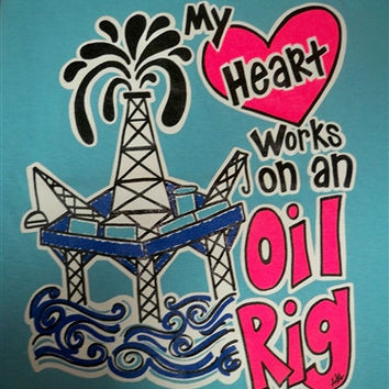 Southern Chics Funny Heart Works Oil Rig Field Girlie Bright T Shirt