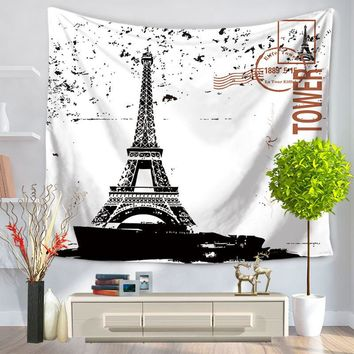 Indian Mandala Paris Tower Printed Wall Hanging Tapestry Beach Throw Mat Hippie Bedspread Gypsy Yoga Mat Blanket Tippet