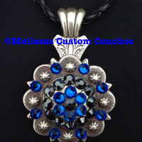 Capri Blue and Jet Hemintate Swarovski crystal necklace. It comes with an 18 inch black braided leather cord.