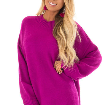 Magenta Reverse Seam Sweater with Side Slits