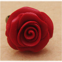 Adjustable Size Cinnabar Flower Ring by turquoisecity on Etsy