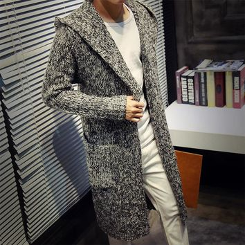 Winter Loose Long Mens Cardigans Sweater New Fashion Big Size