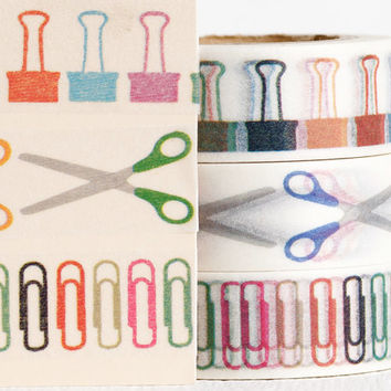 Scissors, Paperclip, Binder Clip Washi for Life Planner, Day Planner Stickers, Agenda Accessories, Teacher Planner Stickers, 15mm Wide