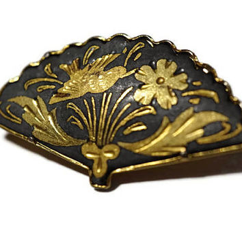 True Damascene Fan Brooch,Black and Gold Tone Pin with Trombone Clasp,Birds and Flowers Fan Shaped Lapel Pin,Collectible Spanish Jewelry