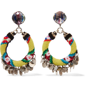 DANNIJO - Ipyana woven, oxidized silver-plated and Swarovski crystal earrings
