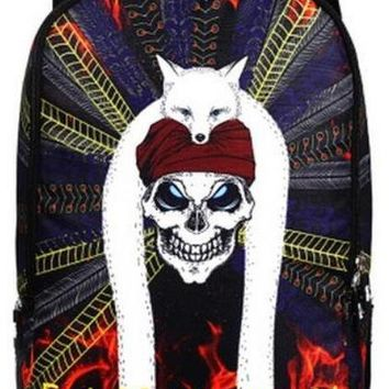 Men Cool Skull WIth Hat King Backpack