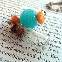 Glass Vial Jewelry - Dandelion Necklace  - Make a Wish - Miniature Bottle- Real Dandelion Seeds - Flower Necklace - Gypsy Jewelry - Boho