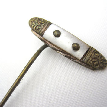 Antique Victorian Stick Pin - Mother of Pearl Pocket Knife Look