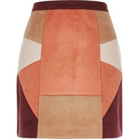 Red patchwork mini skirt