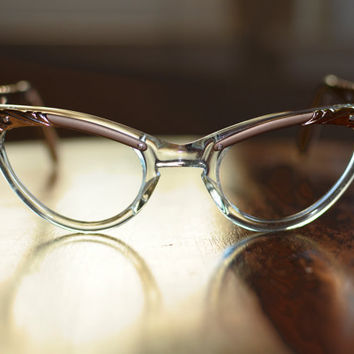 Vintage 1950s 1960s Bronze and Clear Cat Eye Glasses