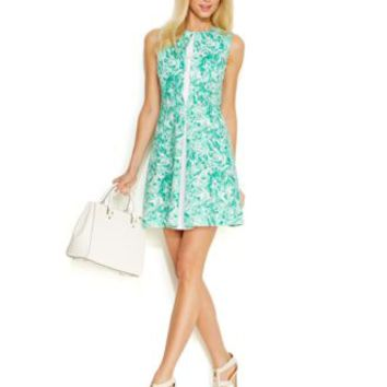 MICHAEL Michael Kors Marble-Print Front-Pleat Dress | macys.com