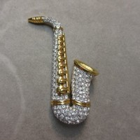 Rare Signed Swan Swarovski Gold Plated Pave Saxophone Brooch Pin