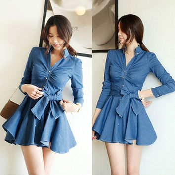New Fashion Women Denim Dress Long sleeve Lapel Collar Bow Sashes Decoration D_L = 1713097476