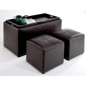 Awesome Faux Leather Storage Bench Coffee Table With 2 Side Ottomans