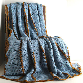 Afghan - Handmade Crochet Blanket - Blue Speckle with Brown Accent