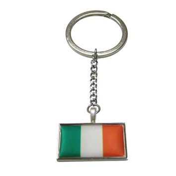 Thin Bordered Irish Flag Pendant Keychain