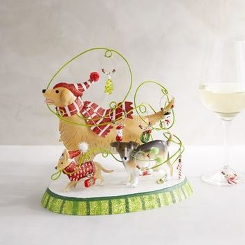 Park Avenue Puppies™ Wine Charms & Holder Set