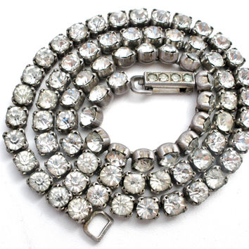 Vintage Sterling Silver Necklace with Clear Rhinestones WH