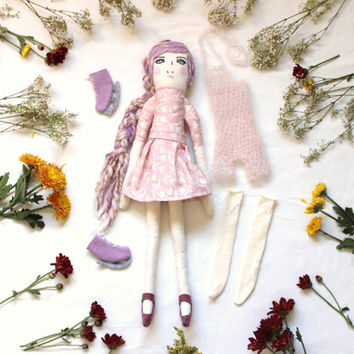 Dress Up Doll for Girls Christmas Gift Play Set Pink & Purple Pastel Boho Figure Skater with Organic Cotton Fabric Toy for Kids