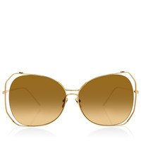 LINDA FARROWHexigon Rim Gold Leg Sunglasses