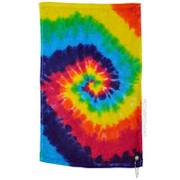 Rainbow Spiral Tie Dye Golf Towel on Sale for $9.99 at HippieShop.com