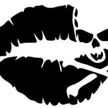 Skull Crossbones Pirate Lips Kissing Vinyl Car/Laptop/Window/Wall Decal