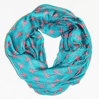 Cross Infinity Scarf - Teal