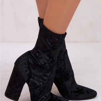 Windsor Smith Black Crushed Velvet Vida Boots