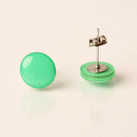 Neon Minty Green Post Earrings