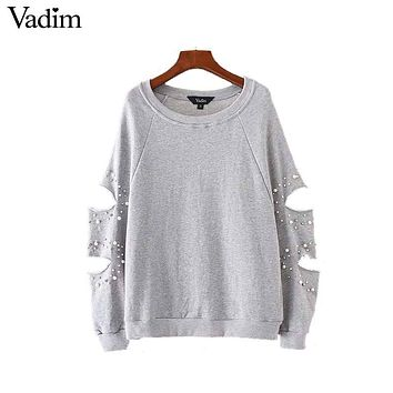 Women Chic Cut Out Over Sized Pearls Sweatshirt Hollow Out Long Sleeve Loose Pullover Autumn Casual