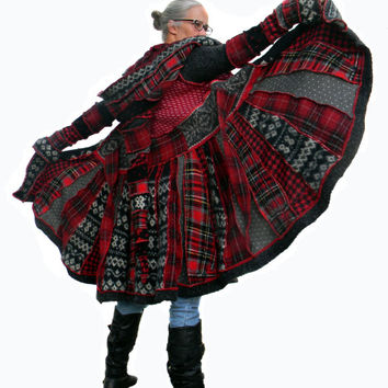 Elf Coat, Upcycled, Recycled, Sweater Coat, Plaid
