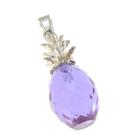 FACETED MEDIUM 3D PURPLE CRYSTAL HAWAIIAN PINEAPPLE PENDANT 925 STERLING SILVER