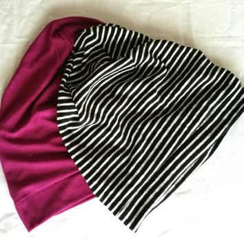Black and White Striped Slouchy Knit Beanie