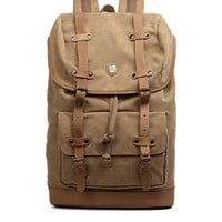 Canvas Daypack with Leather Straps & Laptop Sleeve
