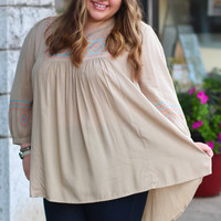 Embroidered Tribal Tunic - Mocha {Curvy}