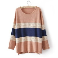 Pink Skull Pattern Striped Pullover Sweater