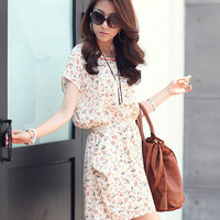 Pencil Shaving Print Short Sleeve Blouson Chiffon Mini Dress