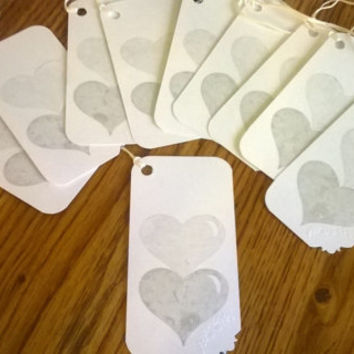 Metallic silver heart stamp Gift Tags Set of 10 25th Wedding Anniversary Wishing tree tags guest book alternative embossed hang tags silver