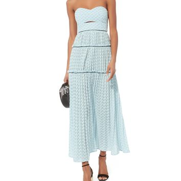 Bandeau Chevron Knit Maxi Dress