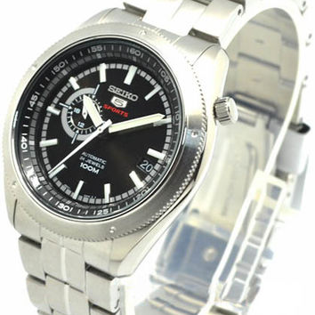 Seiko 5 Sports Black Dial Stainless Steel Mens Watch SSA065