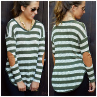 Upper East Side Olive Striped Elbow Patch Top