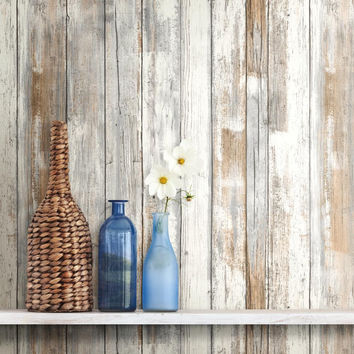 Distressed Barnwood Plank Wood Peel and Stick Wallpaper RMK9050WP