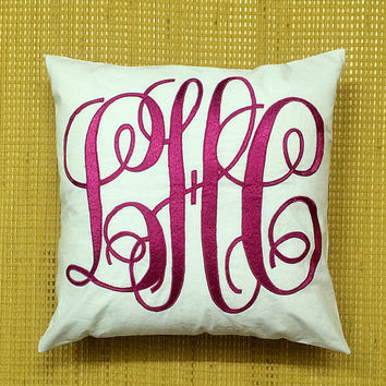 Monogram Pillow Decorative Pillow 8 X 8 Personalized Gift Custom Made Home Dorm Decor Baby Gift Housewarming Gift in All Sizes