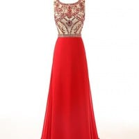 Changjie Women's Long Beaded Chiffon Prom Dress Size 2 US Red