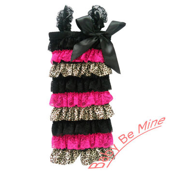 baby girls black hot pink leopard satin ruffle lace by babebmine