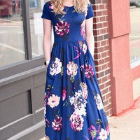 Kate Floral Print Maxi Dress {Navy}