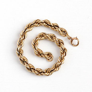 Vintage Rope Bracelet - 12k Rosy Yellow Gold Filled Mid Century Twisted Jewelry - Retro 1950's Women's 7 3/4 Inch Layering Linked , Winard