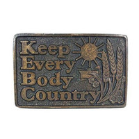 Vintage Brass Belt Buckle Keep Everybody Country KEBC Radio Music Station Oklahoma City CDC Metalworks Novelty Western Rockabilly Boho 70s